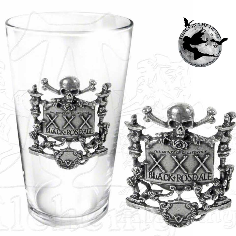 ALCHEMY GOTHIC Black Rose Ale Pint Glass |Gothic Home Ware & Gifts