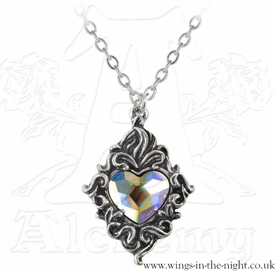 ALCHEMY GOTHIC Crystal Heart Pewter Victorian Necklace