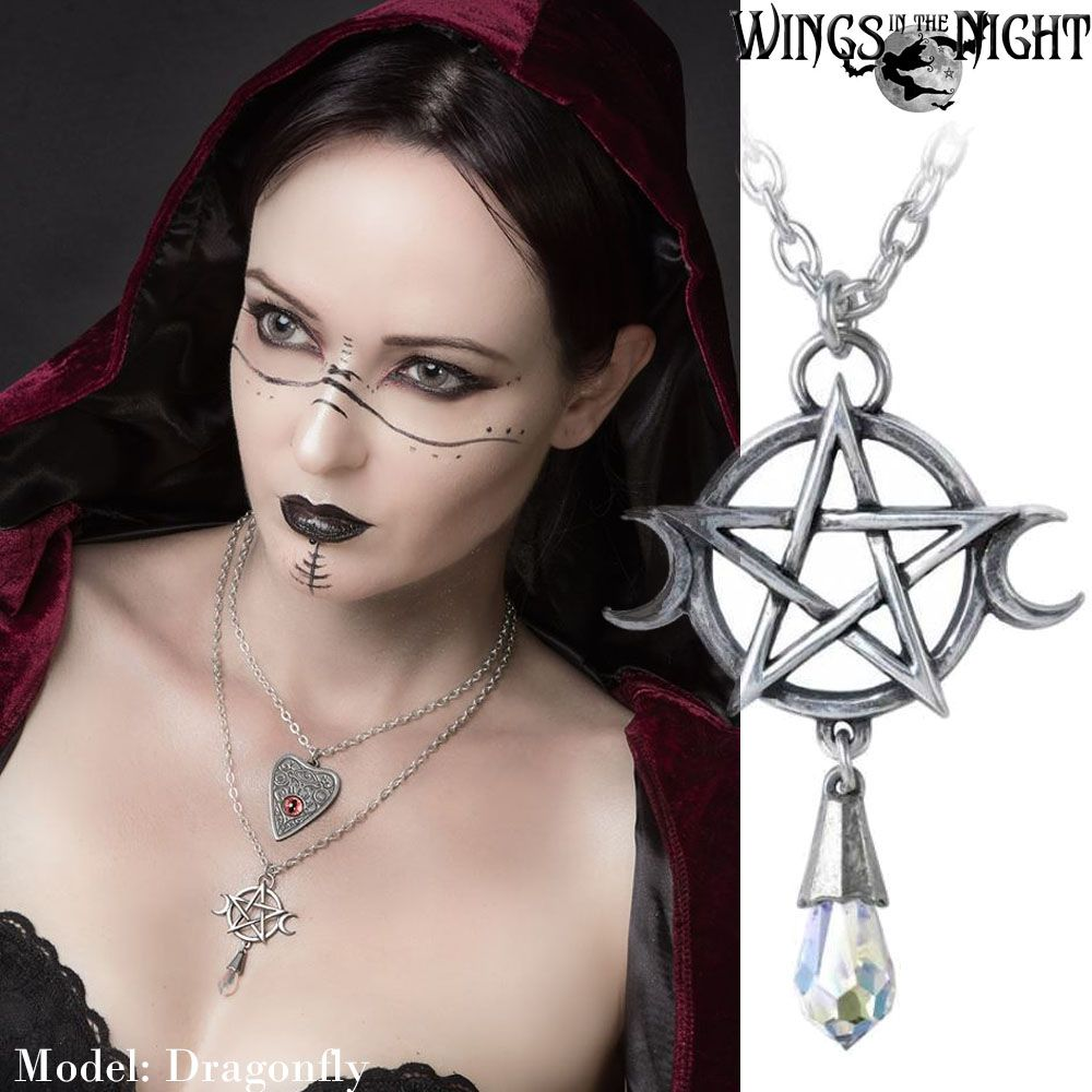 ALCHEMY GOTHIC  Goddess Triple Moon Pentacle Necklace | Pagan & Gothic Jewellery