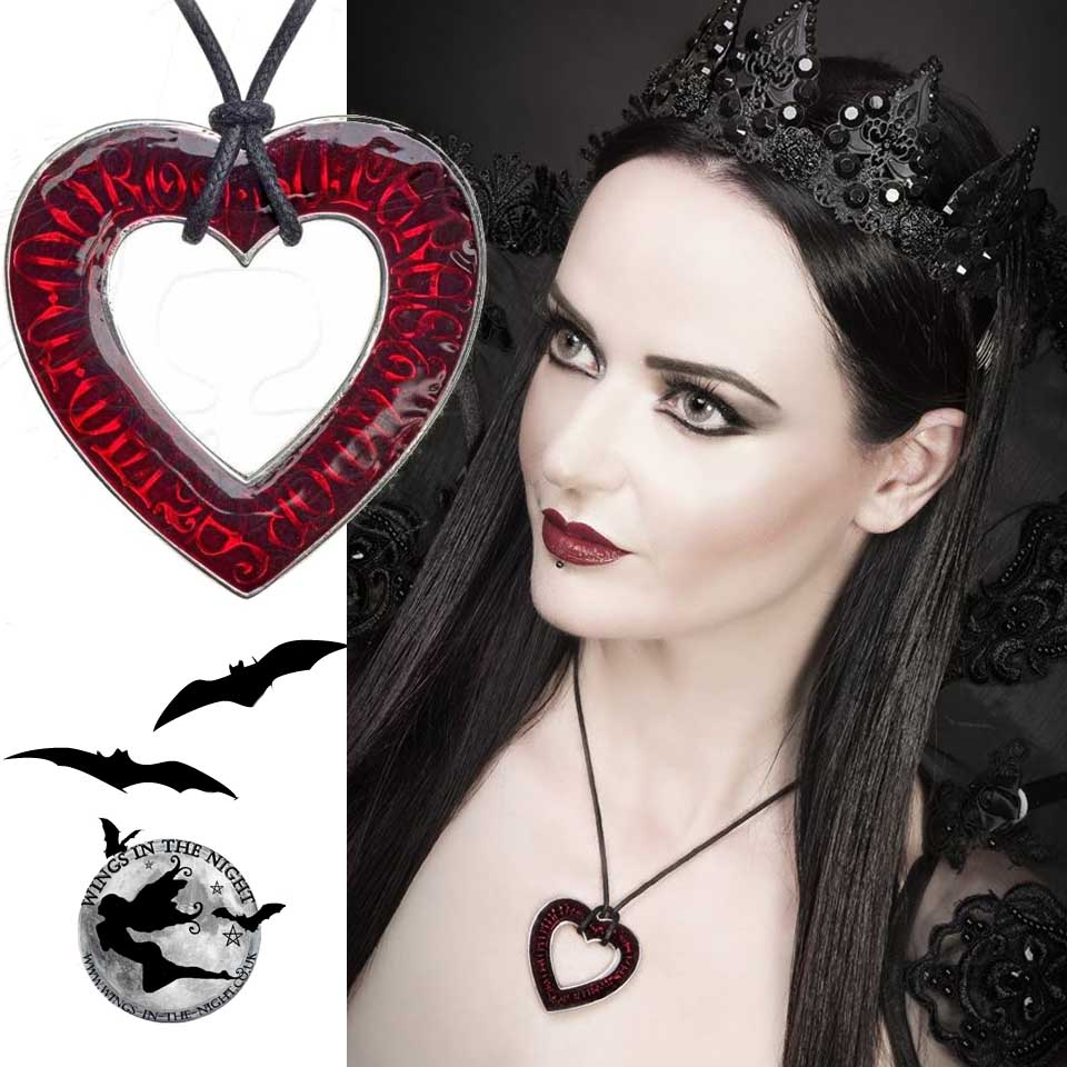ALCHEMY GOTHIC Love Over Death Heart Necklace | Gothic Jewellery