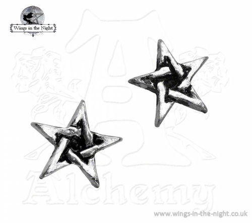 Alchemy Gothic Wiccan Pentagram Pewter Earrings