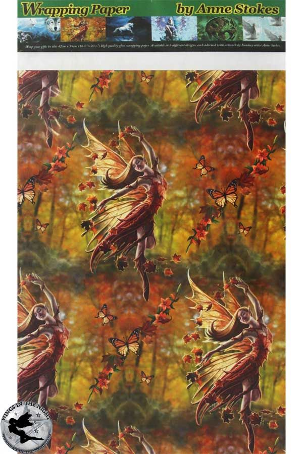 ANNE STOKES Autumn Fairy Fantasy Wrapping Paper