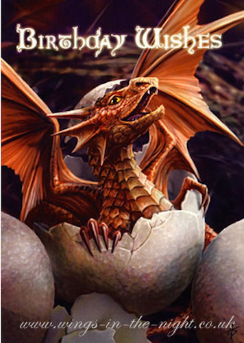 ANNE STOKES Baby Dragon Birthday Greeting Card