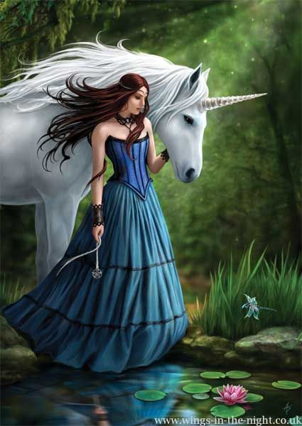Anne Stokes Contemplation Unicorn Greeting Card