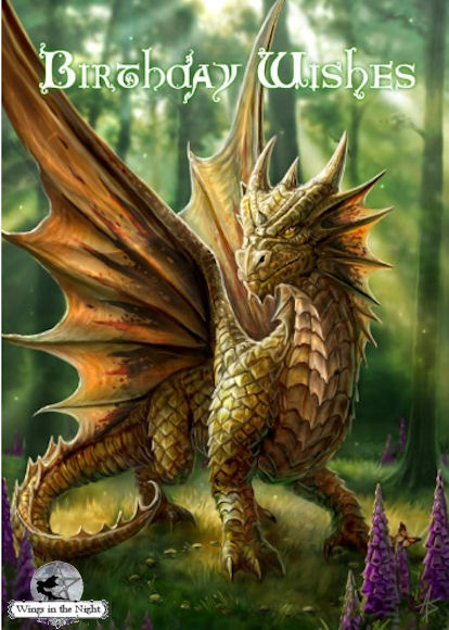 ANNE STOKES Friendly Dragon Mythical Birthday Card
