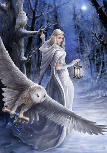 Anne Stokes Midnight Messenger Yule Greeting Card