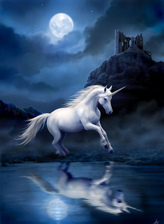 Anne Stokes Moonlight Unicorn Greeting Card