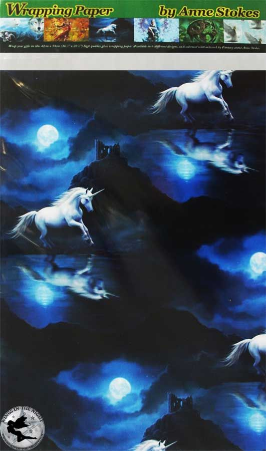 ANNE STOKES Moonlight Unicorn Wrapping Paper