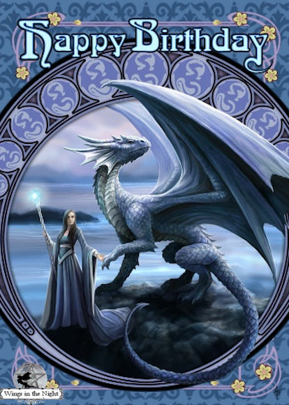 Anne Stokes New Horizons Dragon Birthday Card