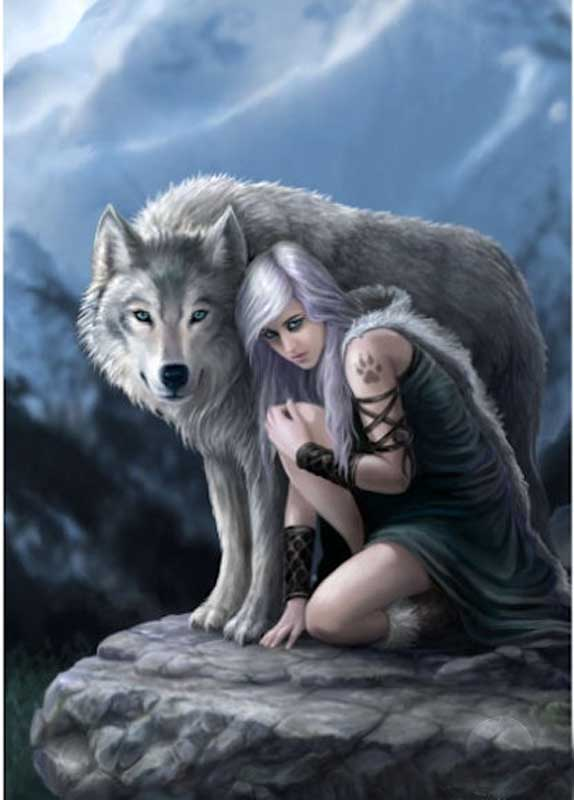 Anne Stokes Protector Wolf Greeting Card