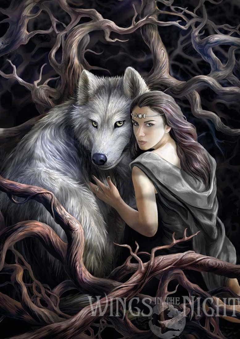 Anne Stokes Soul Bond Wolf Greeting Card | Gothic Home & Gifts