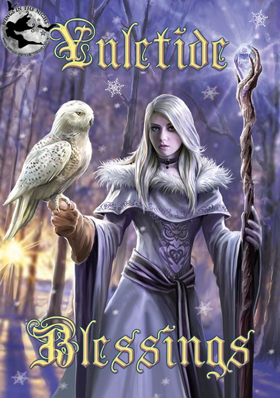 Anne stokes winter owl yule greeting card m4hsunfo