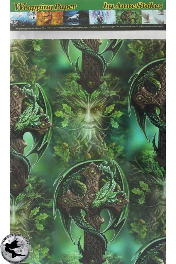 ANNE STOKES Woodland Guardian / Oak King Wrapping Paper