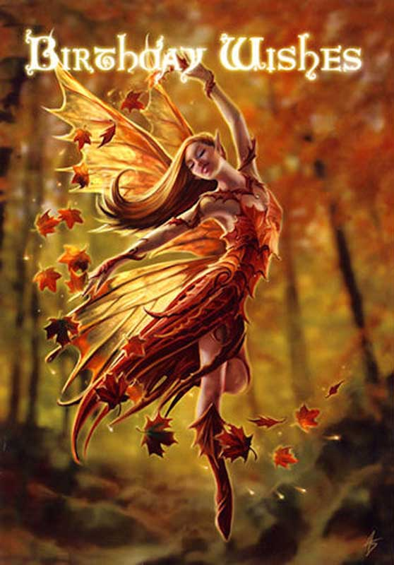 Autumn FAIRY Magical Birthday Greeting Card