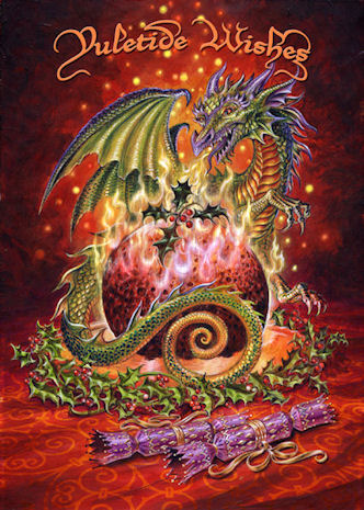 BRIAR Gothic Christmas/Yule Card Flaming Dragon Pudding