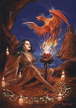 Briar Phoenix Rising Fantasy Greeting Card