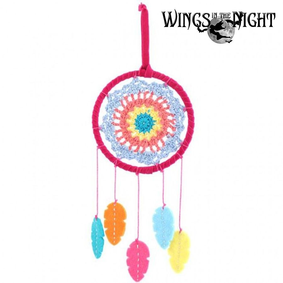 Crochet Multi Coloured Dream catcher 11cm | Pagan & New-Age Home Decor & Gifts | Wings in the Night