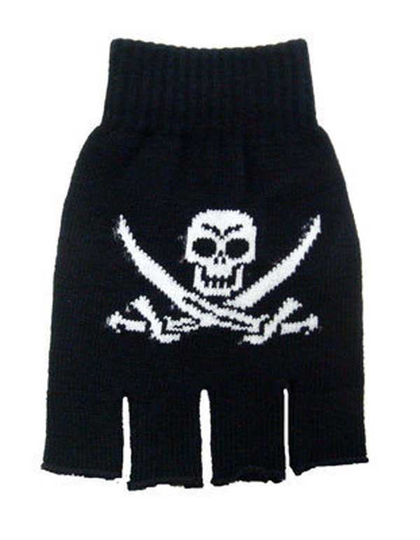 GOTH Skull & Crossbones Finger Less Gloves