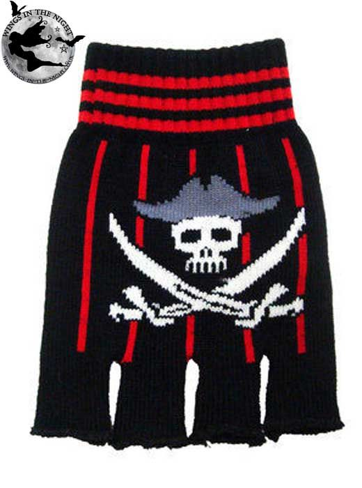GOTH Skull Finger Less Gloves