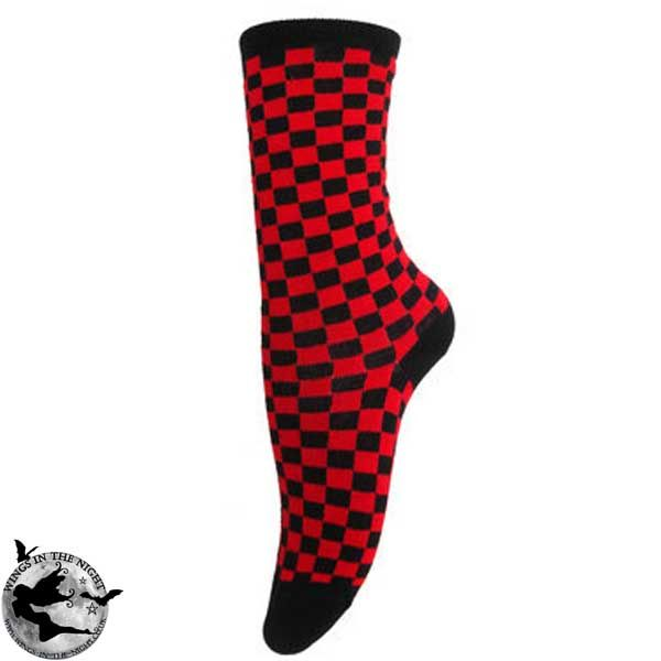 Gothic Black and Red Check Ankle Socks
