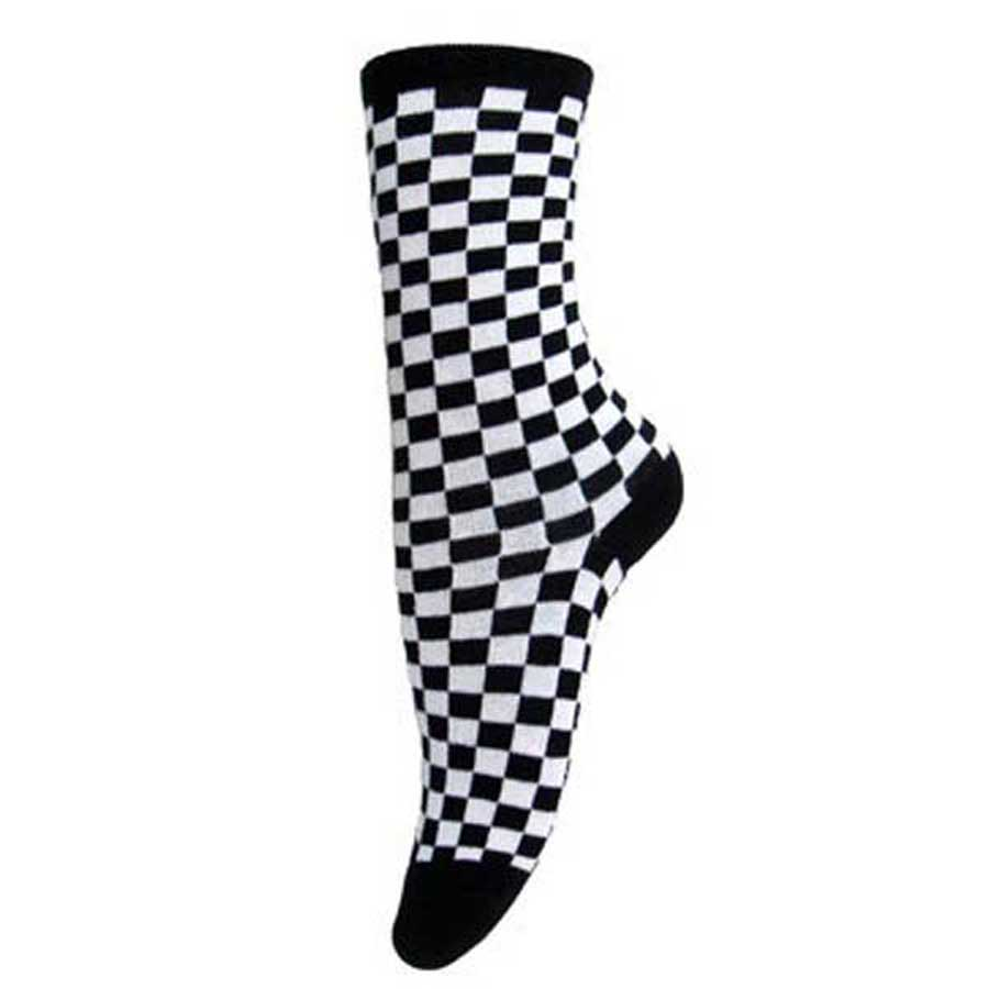 Gothic Black and White Check Ankle Socks