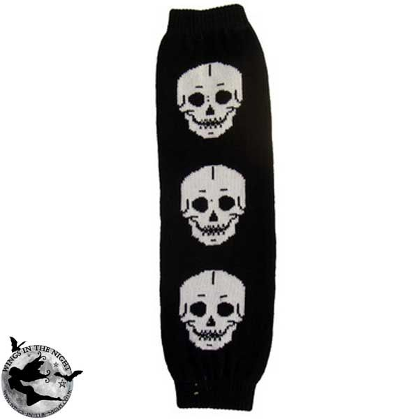 Gothic Black / White Leg Warmers with Skulls