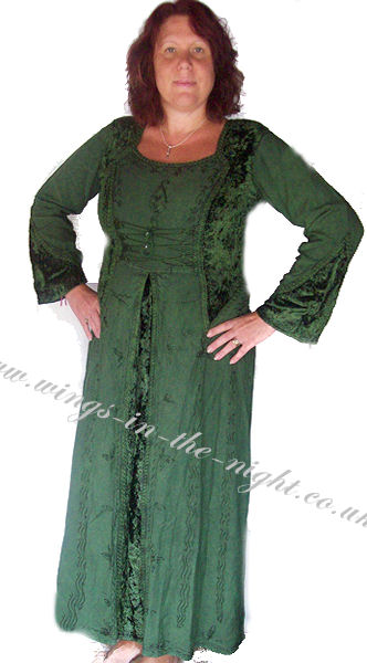 Hippy Pagan Long Green Laced Front Dress
