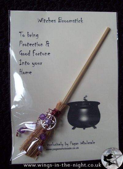 Miniature Witches Decorated Broomstick