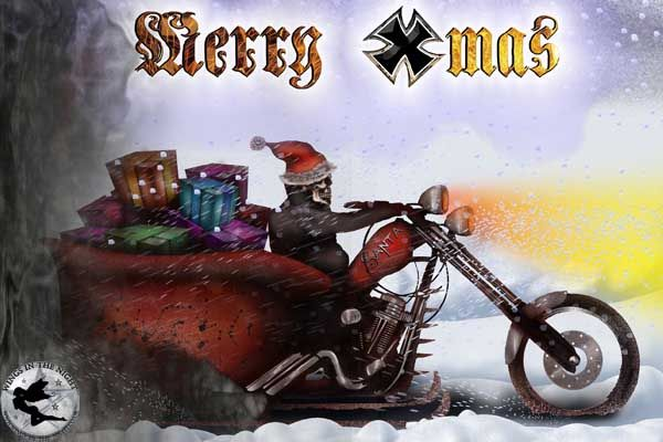night moth biker santa gothic christmas greeting card - Biker Christmas