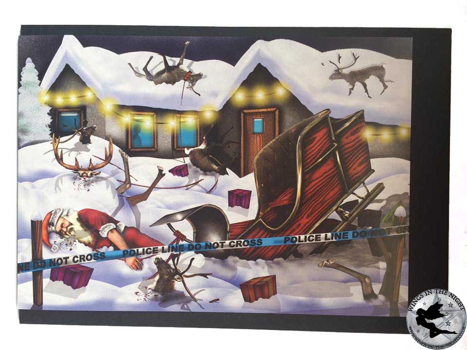NIGHT MOTH Crashed Santa Gothic Christmas Card