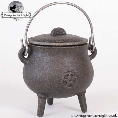 Pentacle Cast Iron Small Witches Cauldron