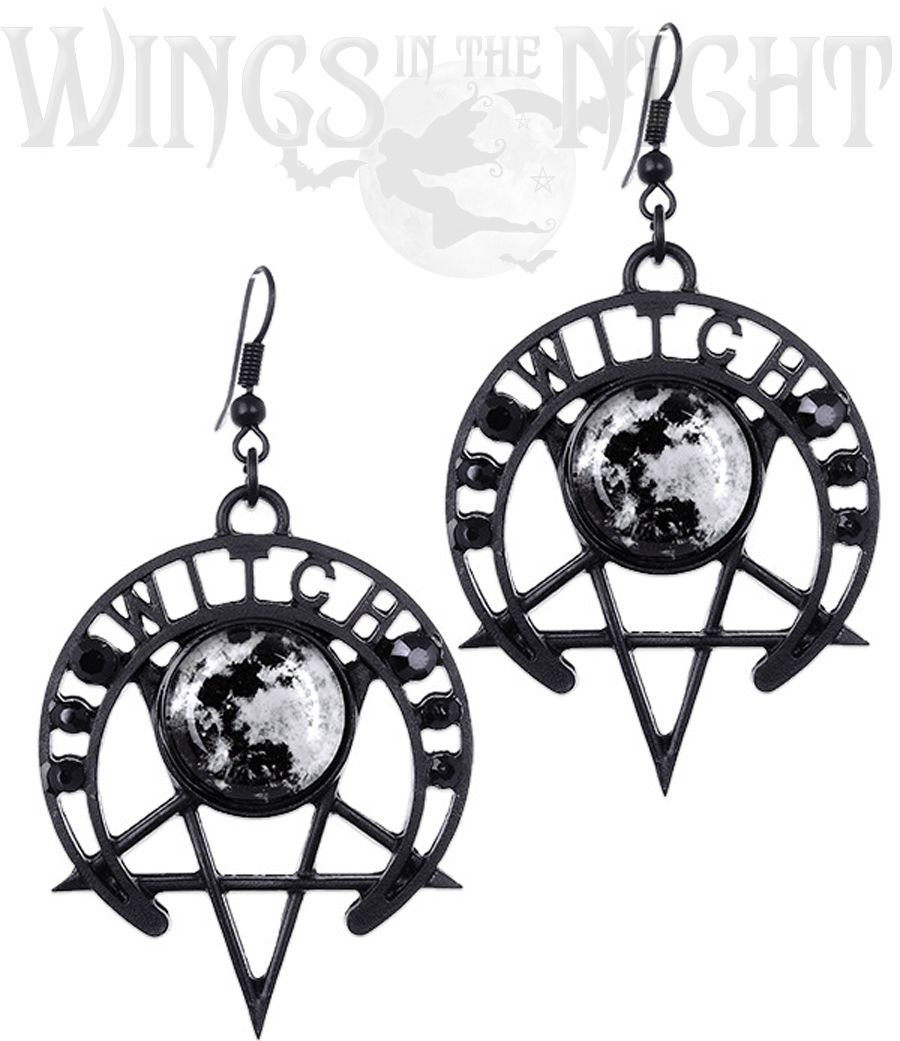 RESTYLE Gothic Witch Moon Black Pentagram Earrings | Gothic Pagan Jewellery