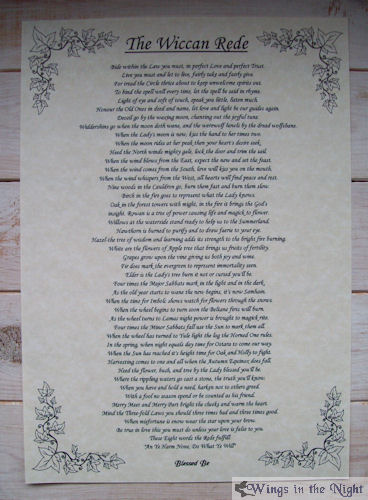 The Wiccan Rede - Full Version A4 Parchment Poster