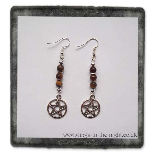 Tigers Eye Crystal and Pentacle Earrings | Crystal Gemstone Jewellery