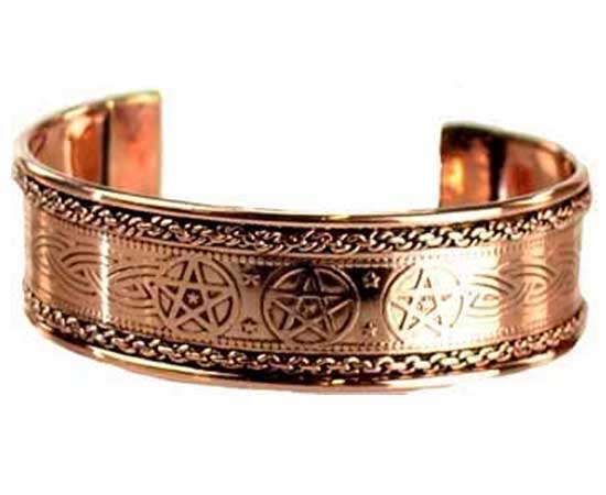 Wiccan PENTACLE Copper Bangle