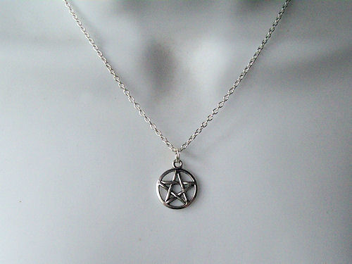 Wiccan Pentacle Pendant Sterling Silver Necklace
