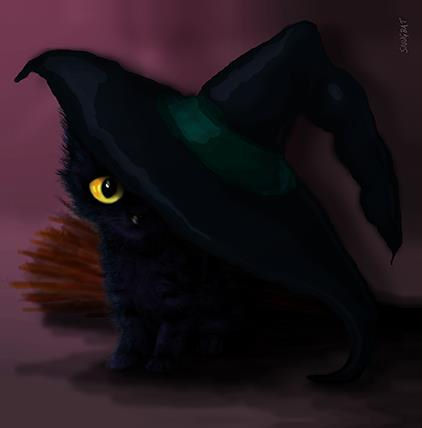 WITCH Hat Cat Greeting Card by Snugbat