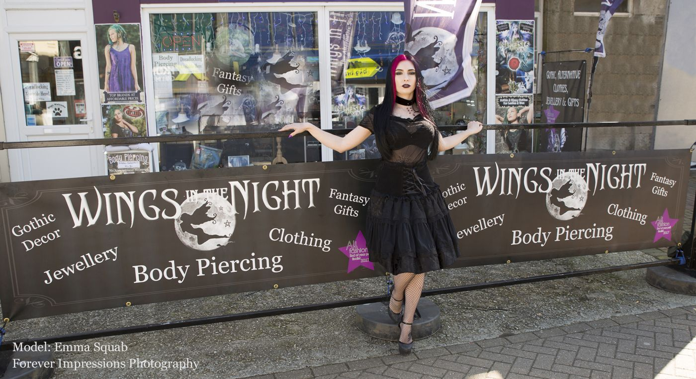 Wings in the Night Alternative Shop, Newquay, Cornwall - Body Piercing, Hand Poked Tattoos, Dreadlocks, Gothic Clothing, Jewellery and gifts